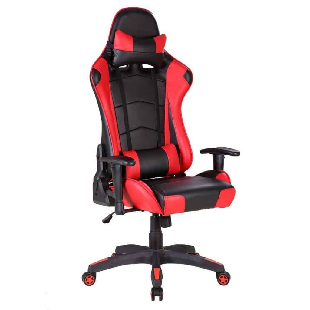Le siège de bureau gaming de luxe baquet sport IWMH en rouge et noir : magnifique pour jouer pendant des heures