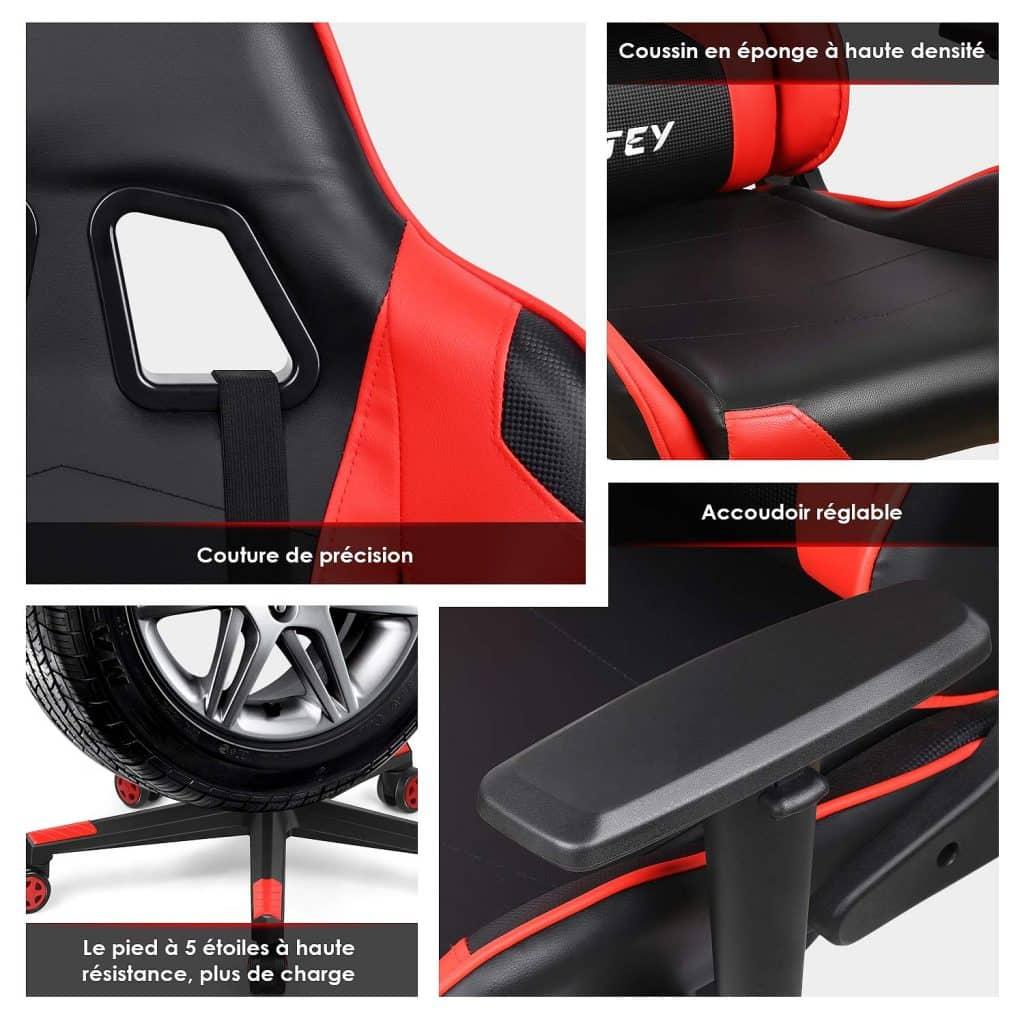 Cette Chaise Gaming INTEY arbore un design élégant et pensé dans les détails